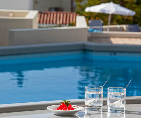 Spoon sweet and vanilla submarine afternoon treats for our guests can enjoy by the pool during their stay at Galaxy Villas' apartments in Hersonissos